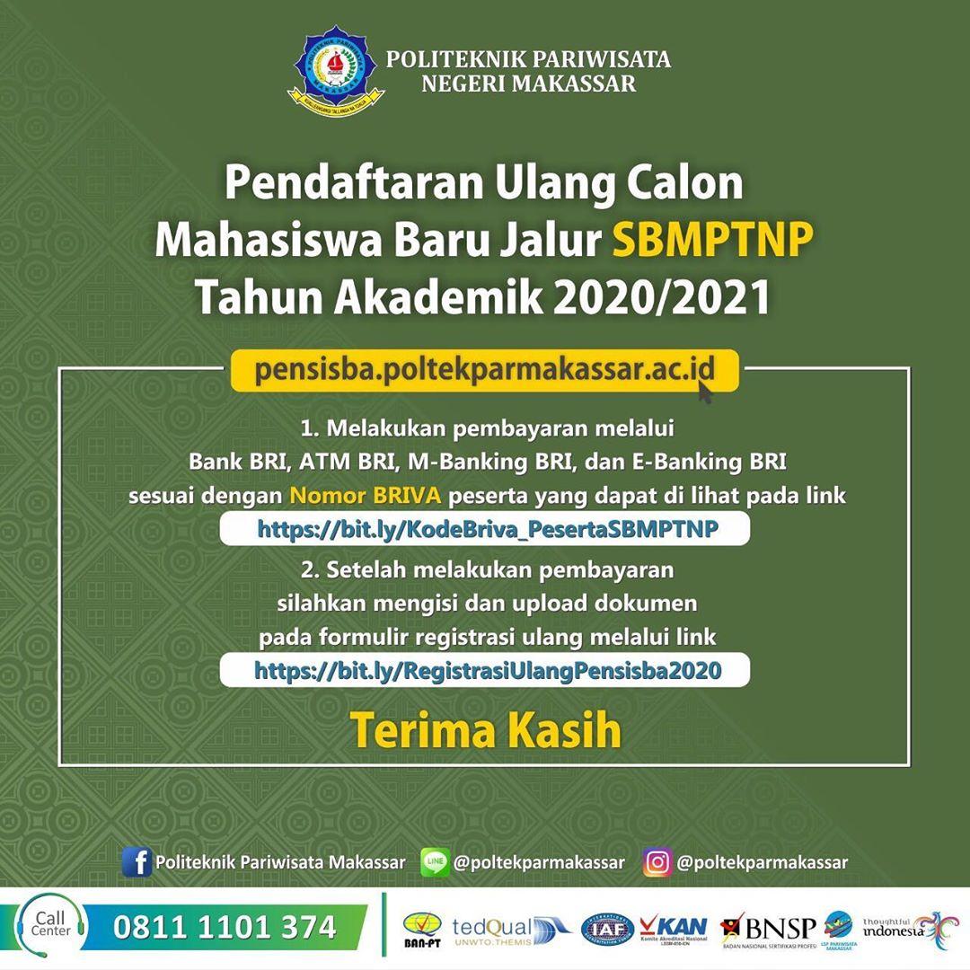Pendaftaran Ulang bagi Calon Mahasiswa Baru Jalur SBMPTNP Tahun Akademik 2020/2021